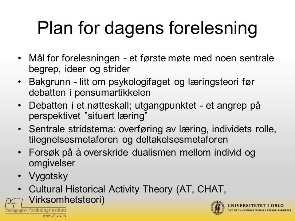Plan for dagens forelesning