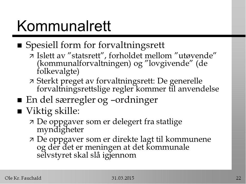 Kommunalrett Spesiell form for forvaltningsrett