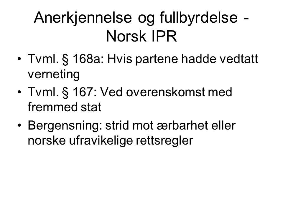 Anerkjennelse og fullbyrdelse -Norsk IPR