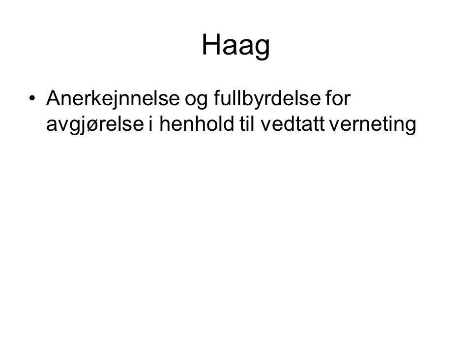 Haag Anerkejnnelse og fullbyrdelse for avgjørelse i henhold til vedtatt verneting