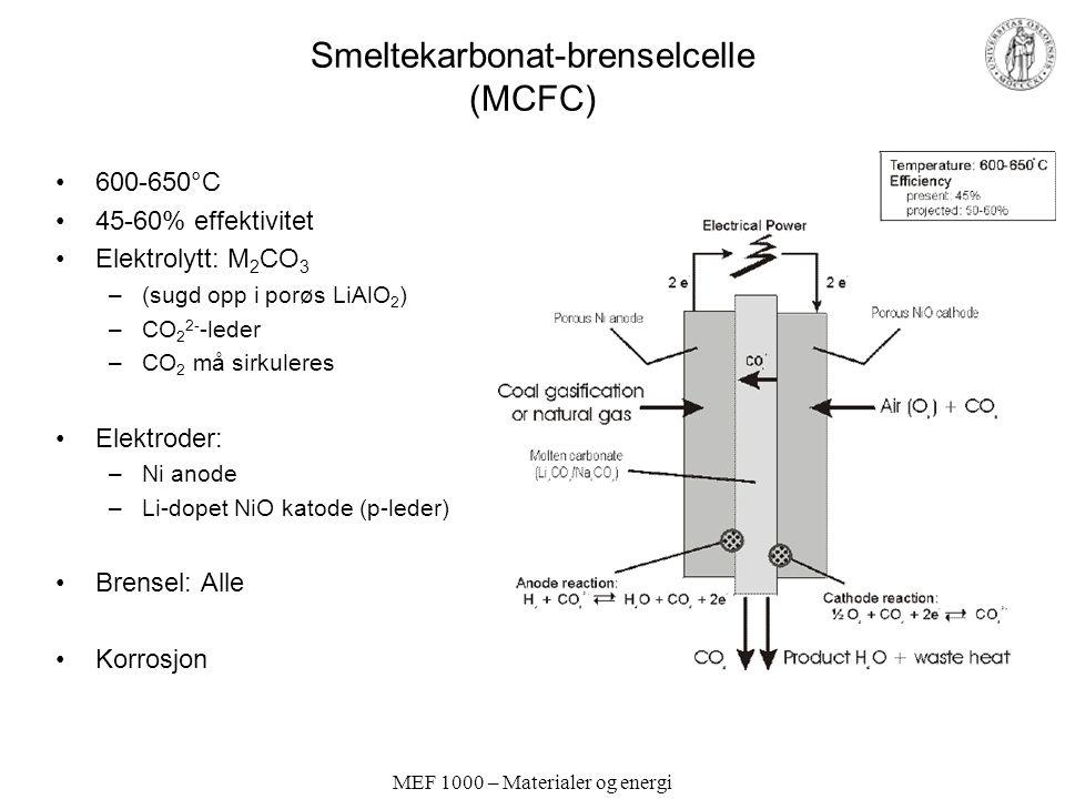 Smeltekarbonat-brenselcelle (MCFC)