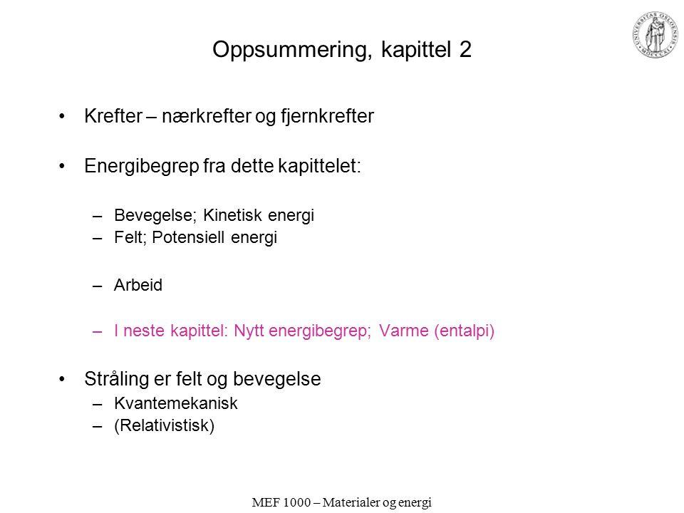 Oppsummering, kapittel 2