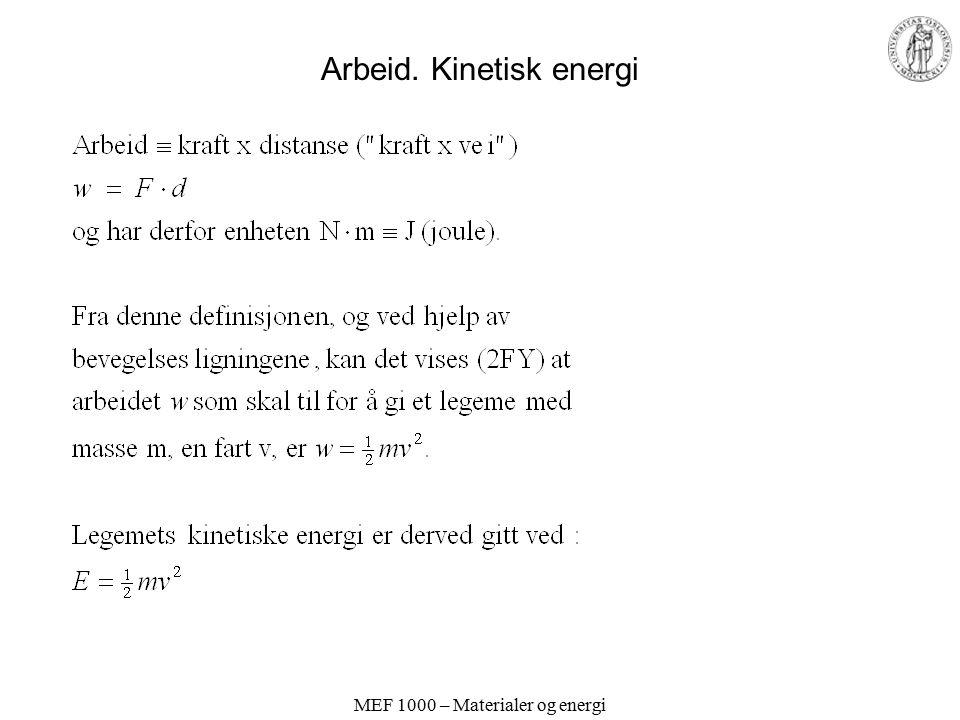 Arbeid. Kinetisk energi