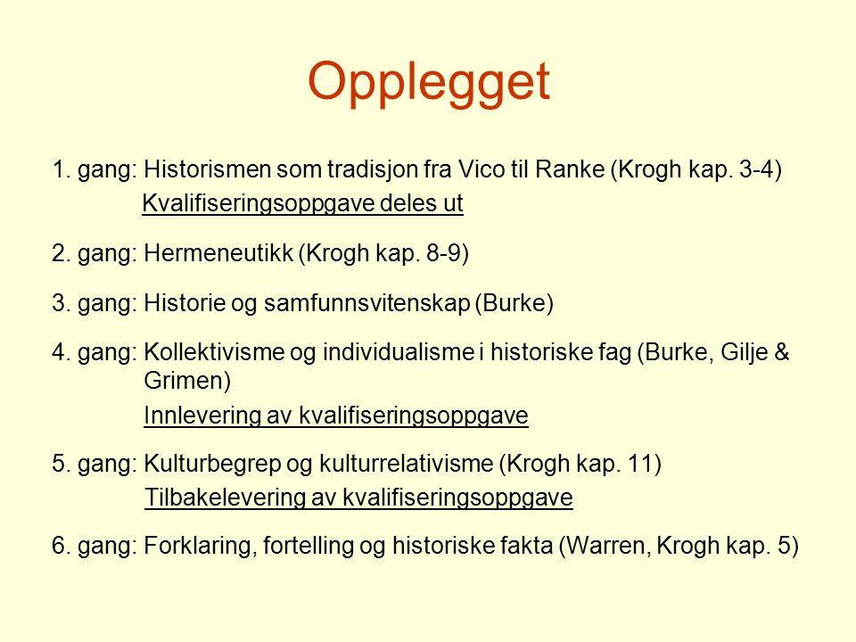 Opplegget 1. gang: Historismen som tradisjon fra Vico til Ranke (Krogh kap. 3-4) Kvalifiseringsoppgave deles ut.