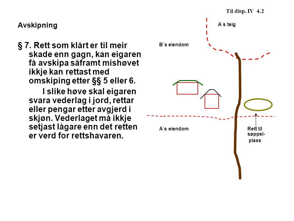 Til disp. IV 4.2 A`s teig. B`s eiendom. A´s eiendom Rett til søppel- plass. Avskipning.