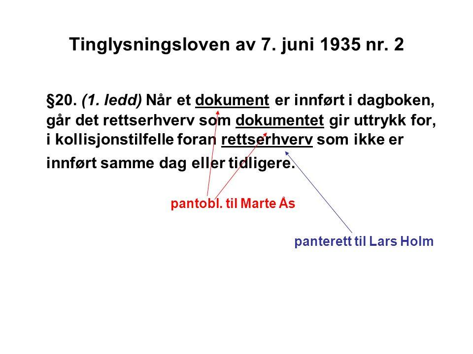 Tinglysningsloven av 7. juni 1935 nr. 2