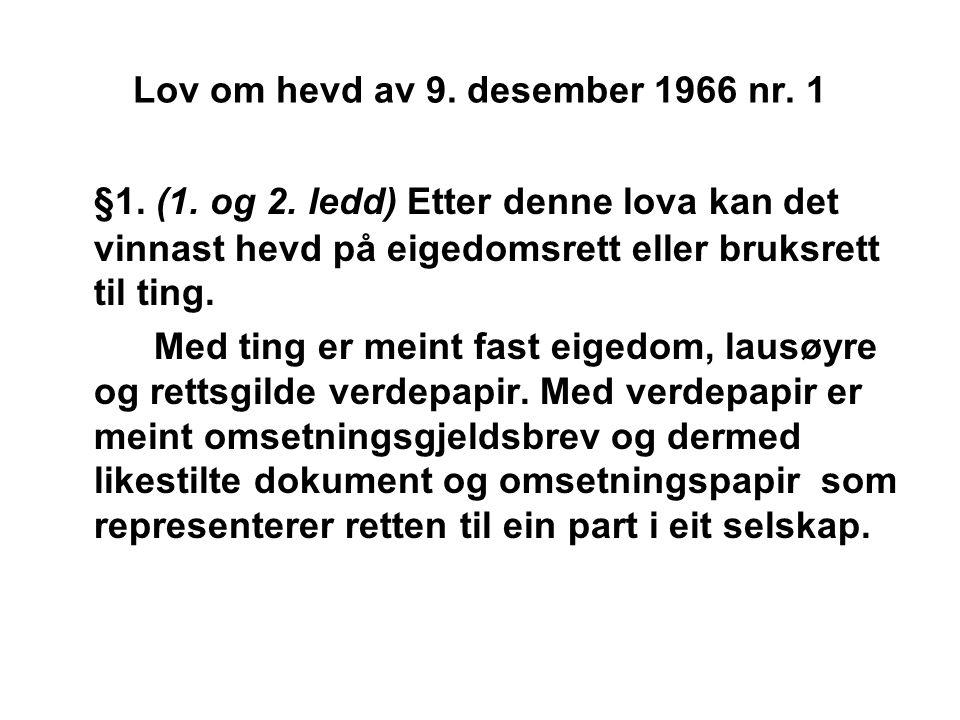 Lov om hevd av 9. desember 1966 nr. 1