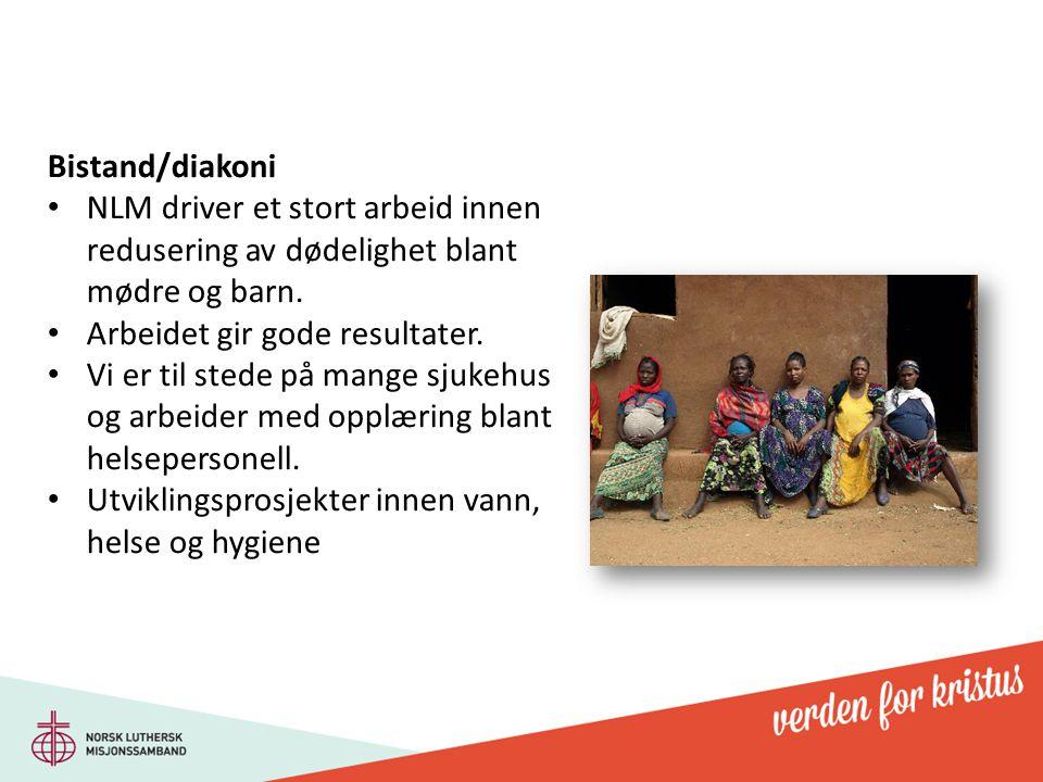 Bistand/diakoni NLM driver et stort arbeid innen redusering av dødelighet blant mødre og barn. Arbeidet gir gode resultater.