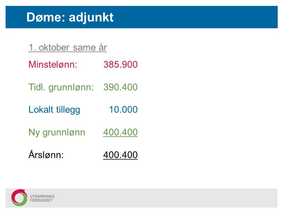 Døme: adjunkt 1. oktober same år Minstelønn: 385.900