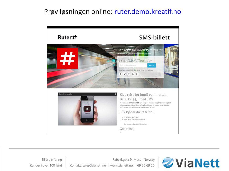 Prøv løsningen online: ruter.demo.kreatif.no