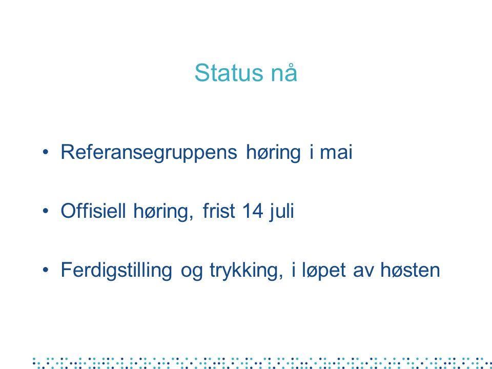 Status nå Referansegruppens høring i mai