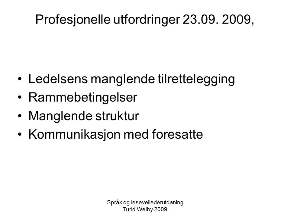 Profesjonelle utfordringer 23.09. 2009,