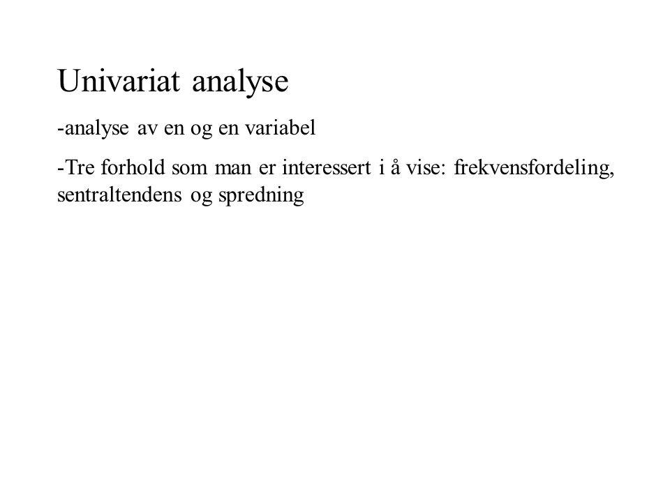 Univariat analyse analyse av en og en variabel