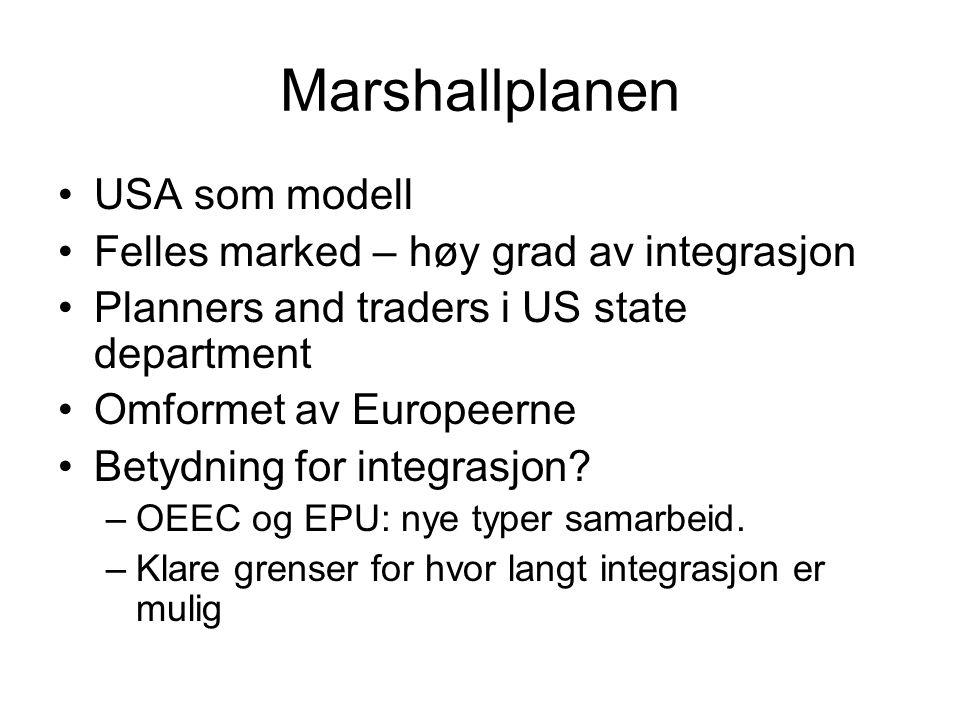 Marshallplanen USA som modell Felles marked – høy grad av integrasjon