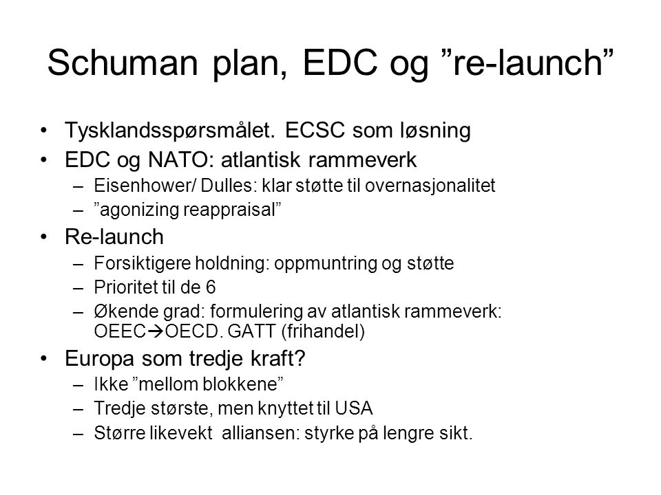 Schuman plan, EDC og re-launch