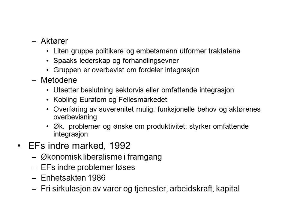 EFs indre marked, 1992 Aktører Metodene