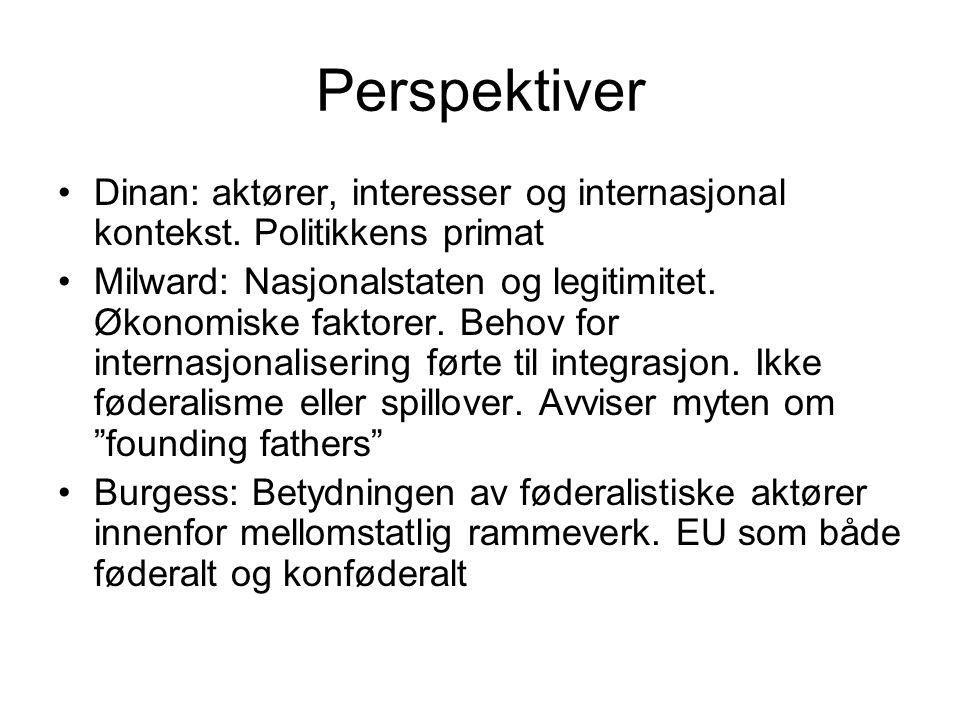 Perspektiver Dinan: aktører, interesser og internasjonal kontekst. Politikkens primat.