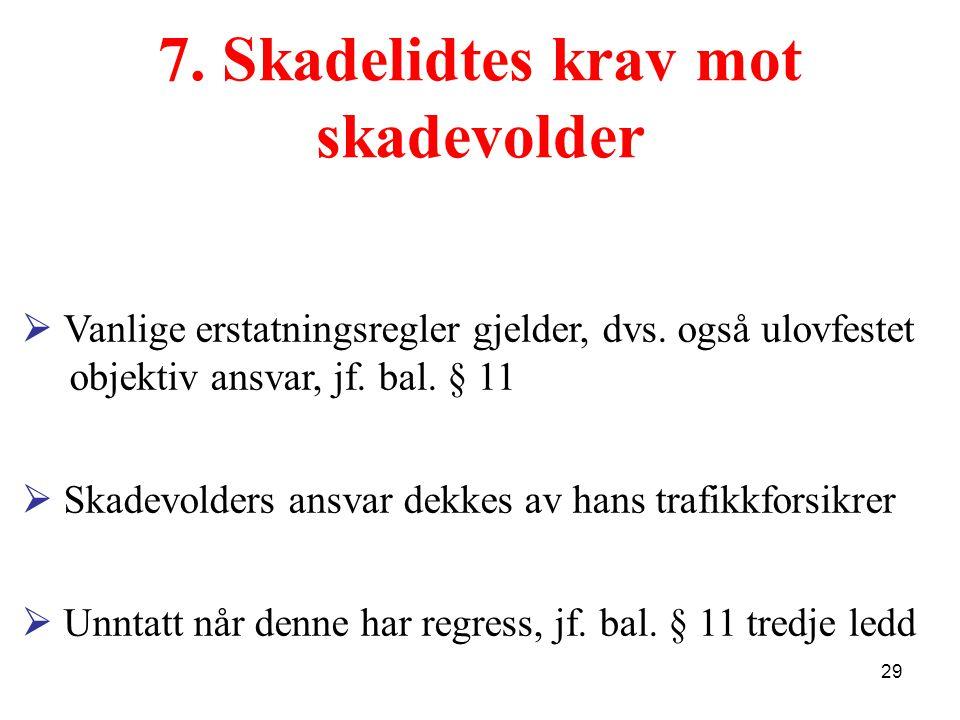 7. Skadelidtes krav mot skadevolder