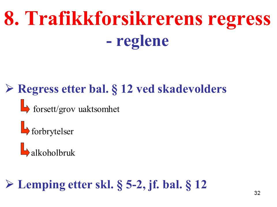 8. Trafikkforsikrerens regress - reglene