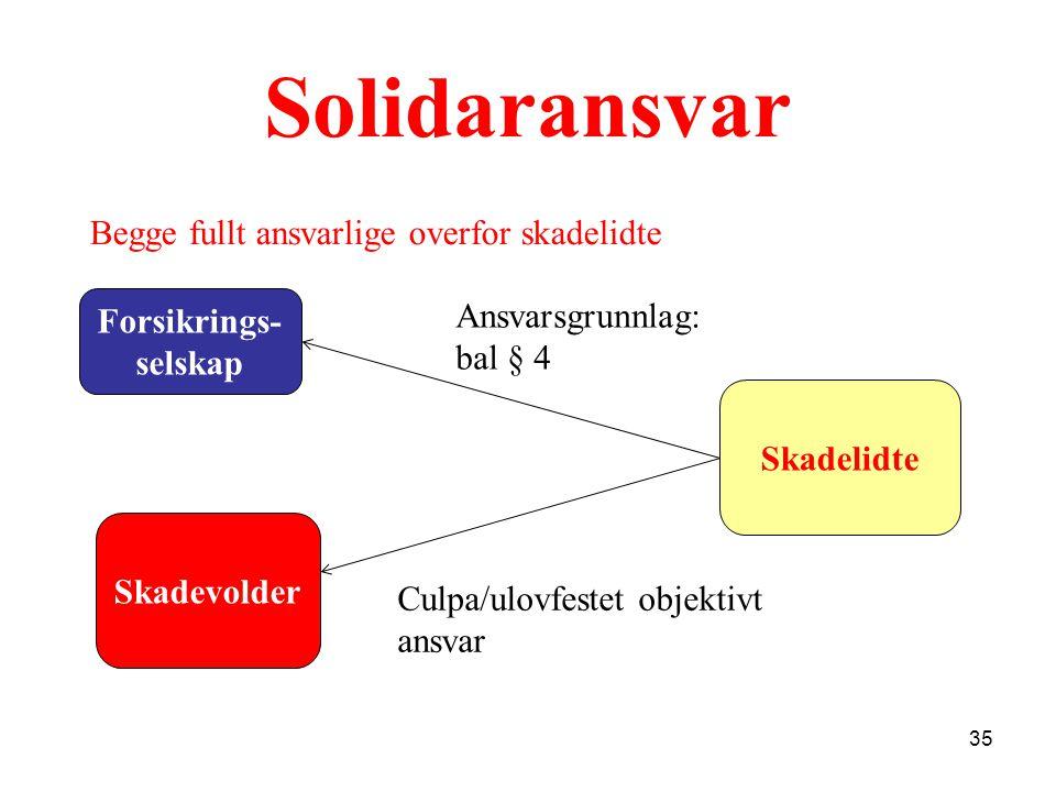 Solidaransvar Begge fullt ansvarlige overfor skadelidte Forsikrings-