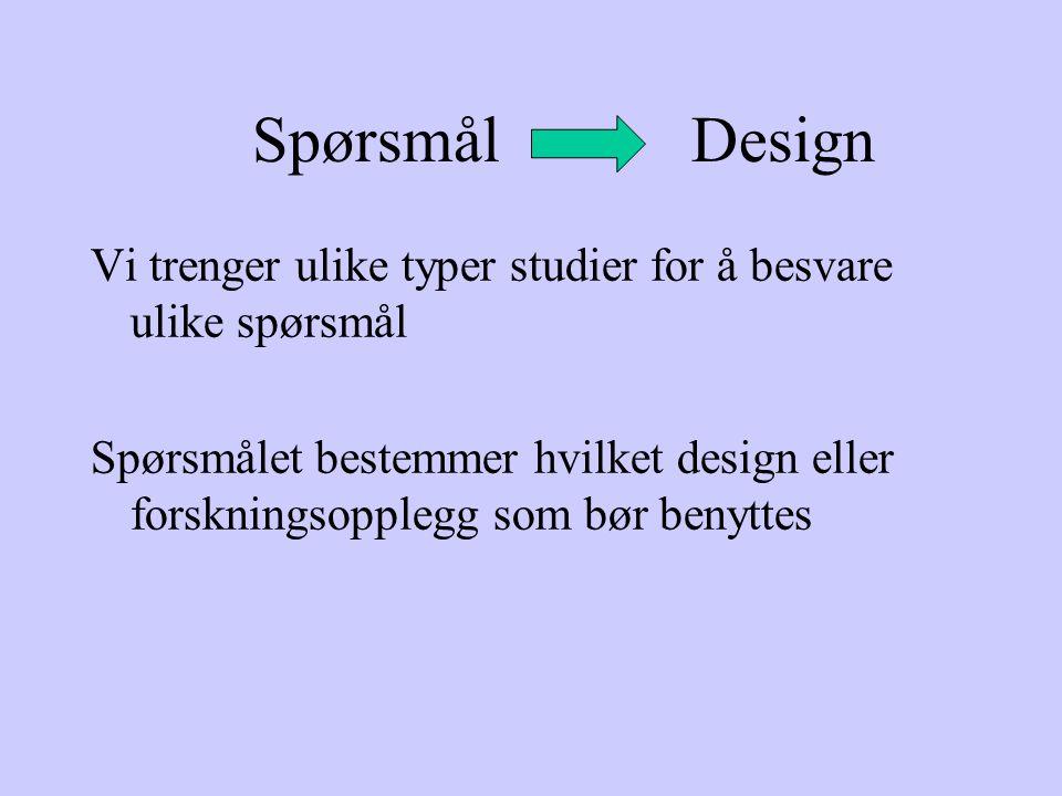 Spørsmål Design Vi trenger ulike typer studier for å besvare ulike spørsmål.