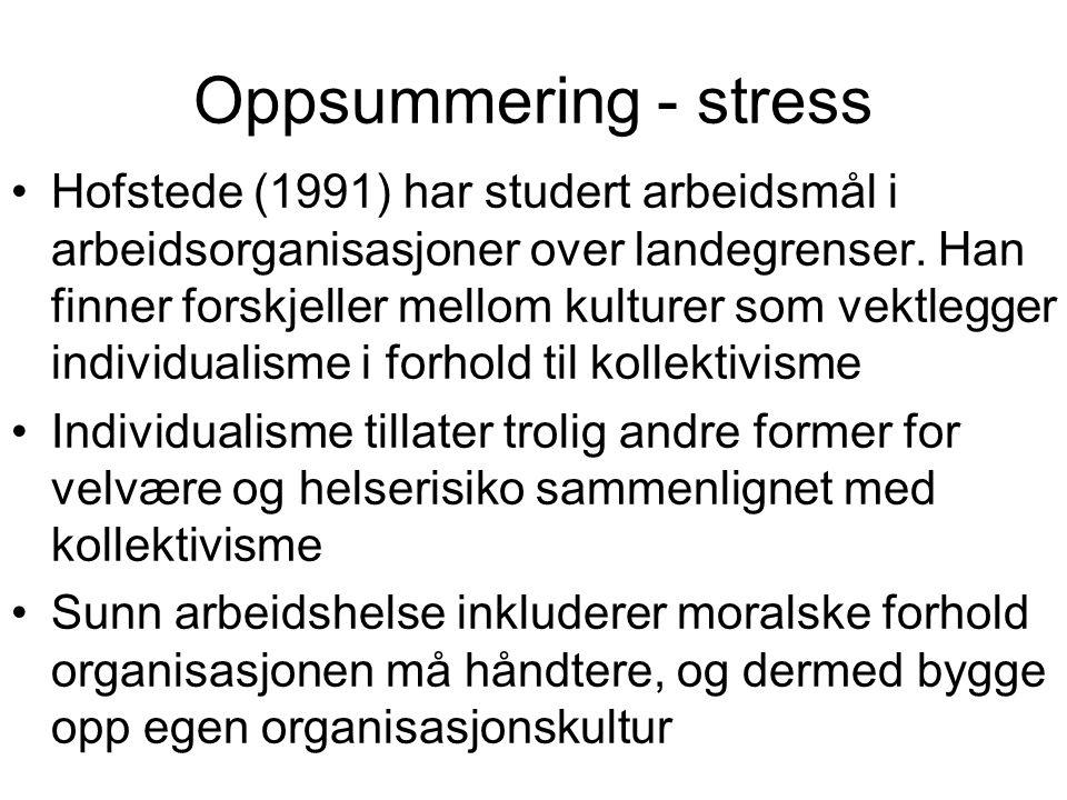 Oppsummering - stress
