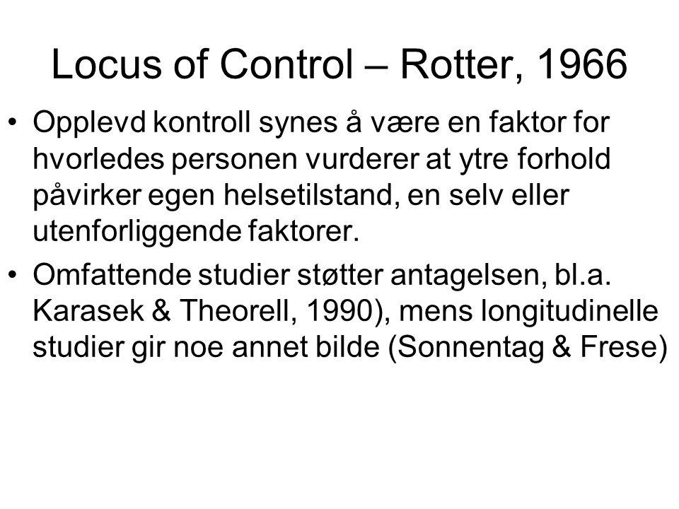 Locus of Control – Rotter, 1966