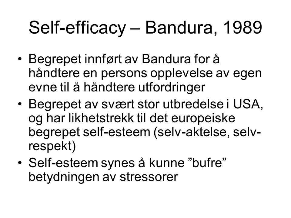 Self-efficacy – Bandura, 1989
