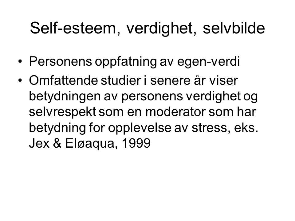 Self-esteem, verdighet, selvbilde