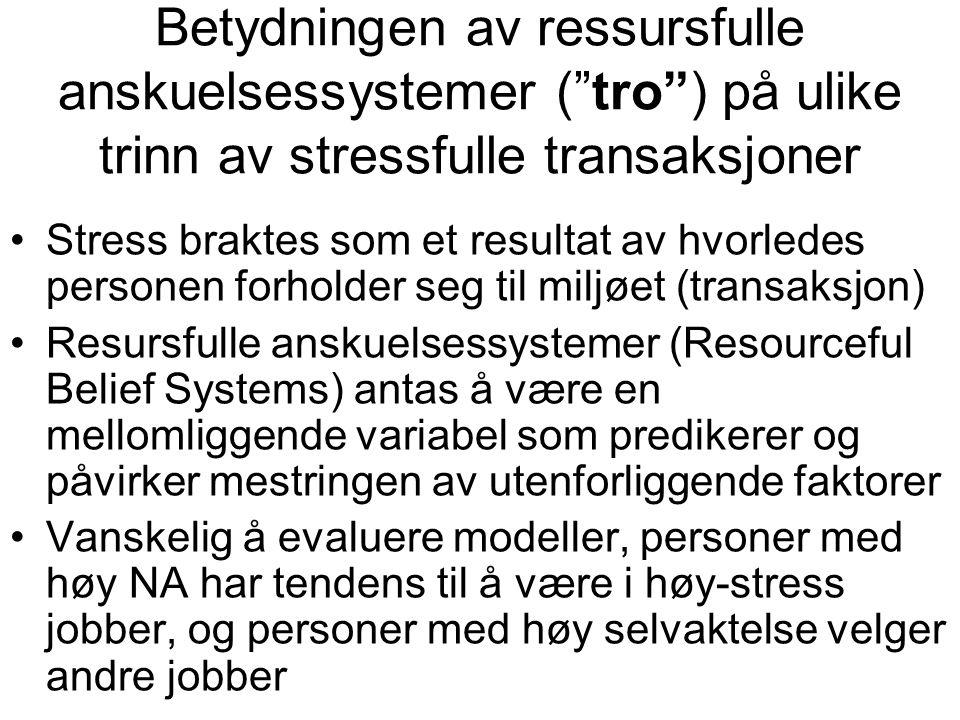 Betydningen av ressursfulle anskuelsessystemer ( tro ) på ulike trinn av stressfulle transaksjoner