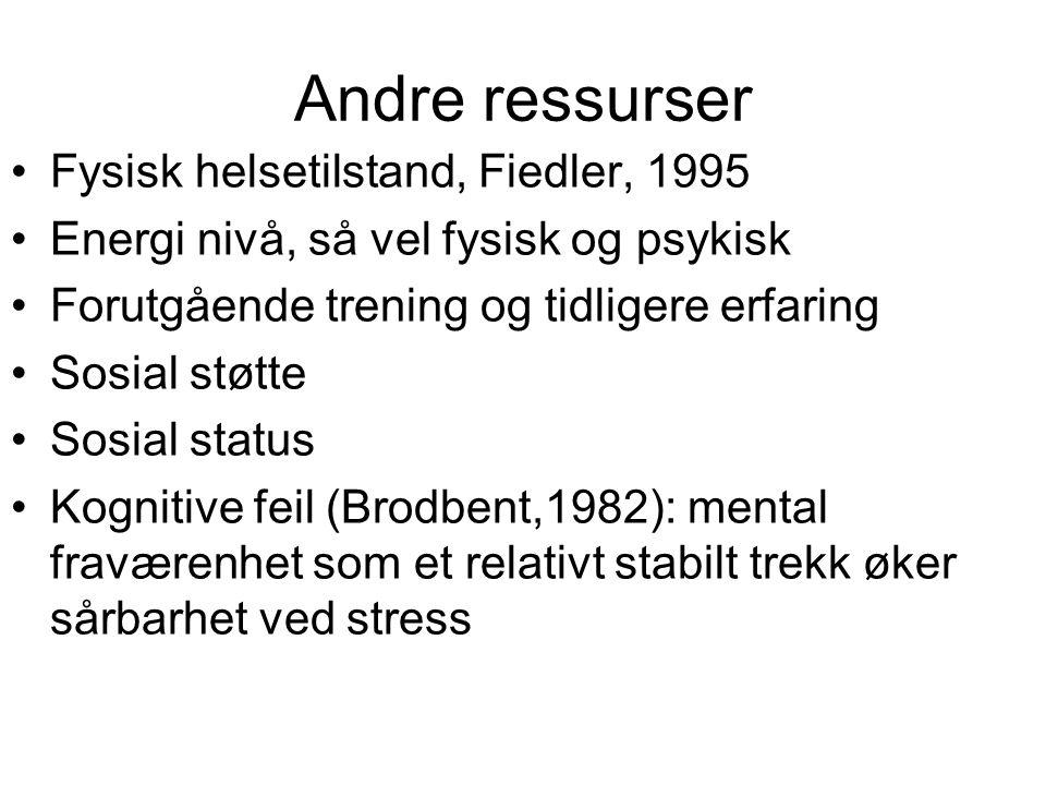 Andre ressurser Fysisk helsetilstand, Fiedler, 1995