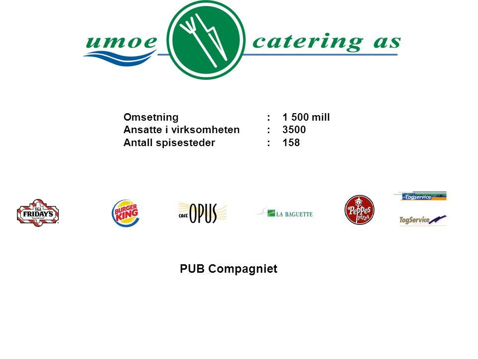 PUB Compagniet Omsetning : 1 500 mill Ansatte i virksomheten : 3500