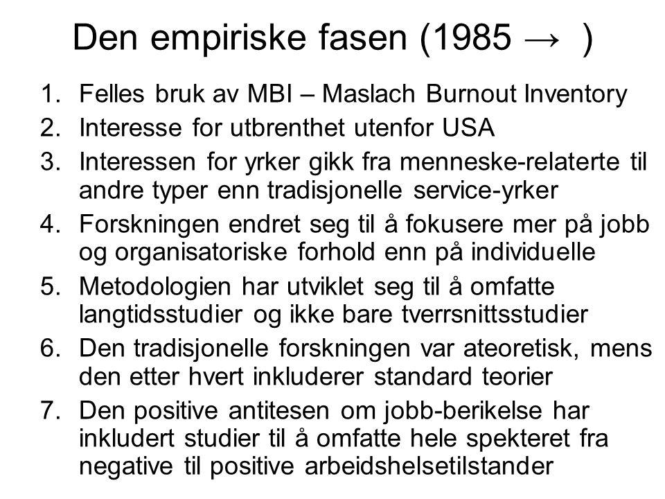Den empiriske fasen (1985 → )