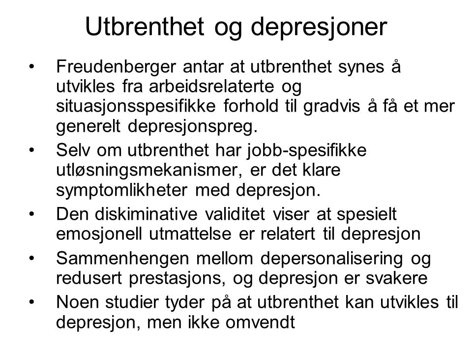 Utbrenthet og depresjoner