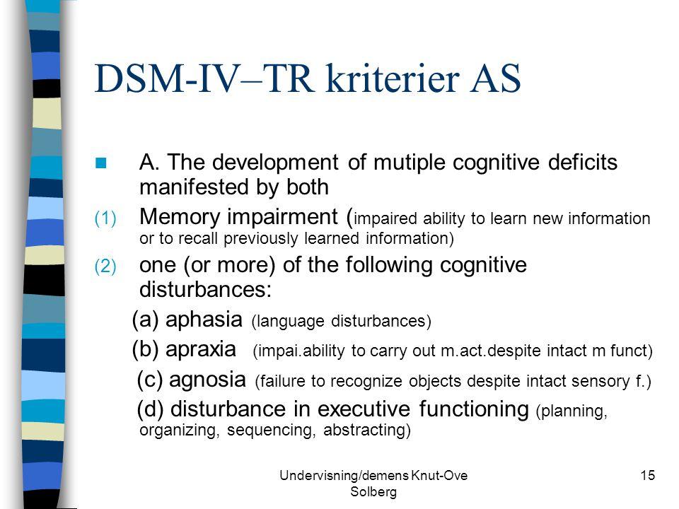 DSM-IV–TR kriterier AS