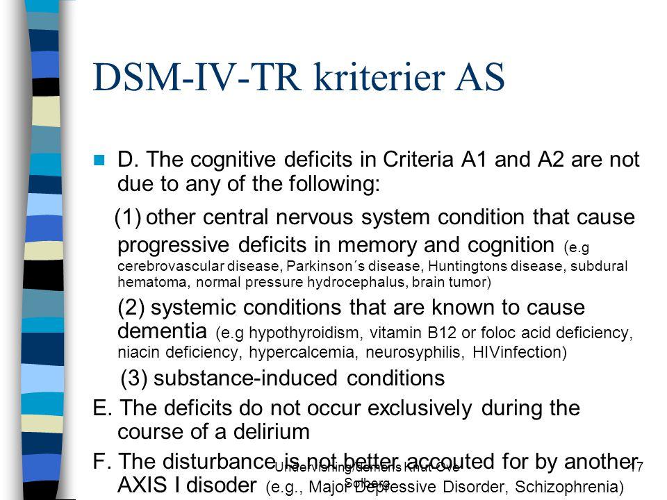 DSM-IV-TR kriterier AS