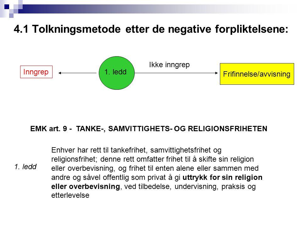 4.1 Tolkningsmetode etter de negative forpliktelsene: