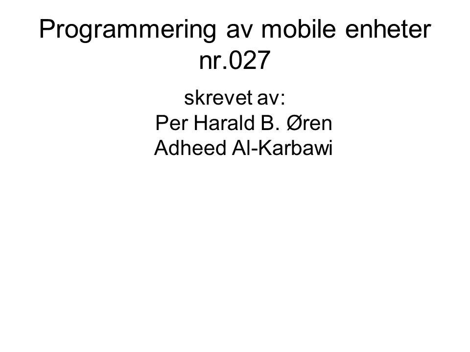 Programmering av mobile enheter nr.027