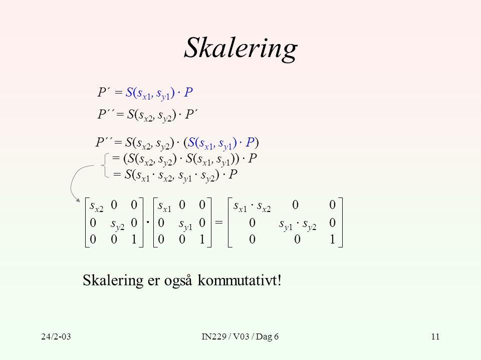 Skalering Skalering er også kommutativt! P´ = S(sx1, sy1) · P