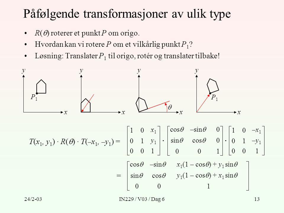 Påfølgende transformasjoner av ulik type