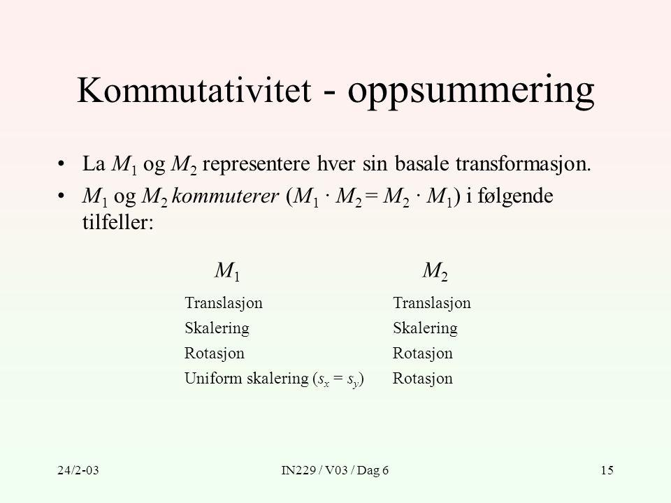 Kommutativitet - oppsummering