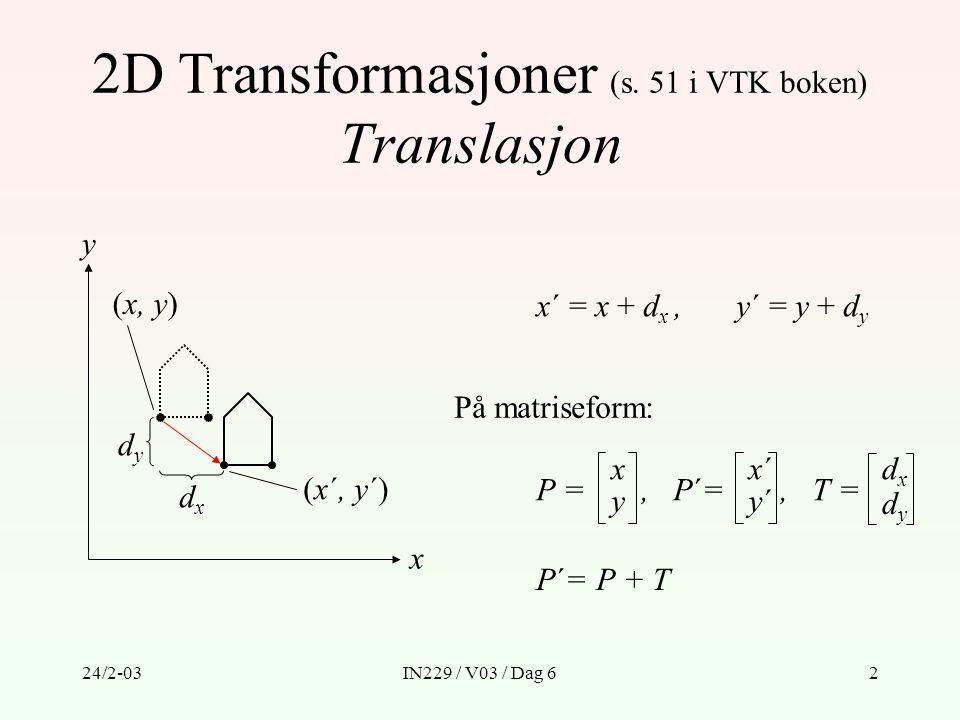 2D Transformasjoner (s. 51 i VTK boken) Translasjon