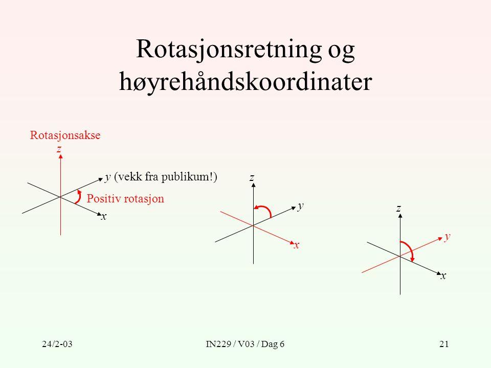 Rotasjonsretning og høyrehåndskoordinater