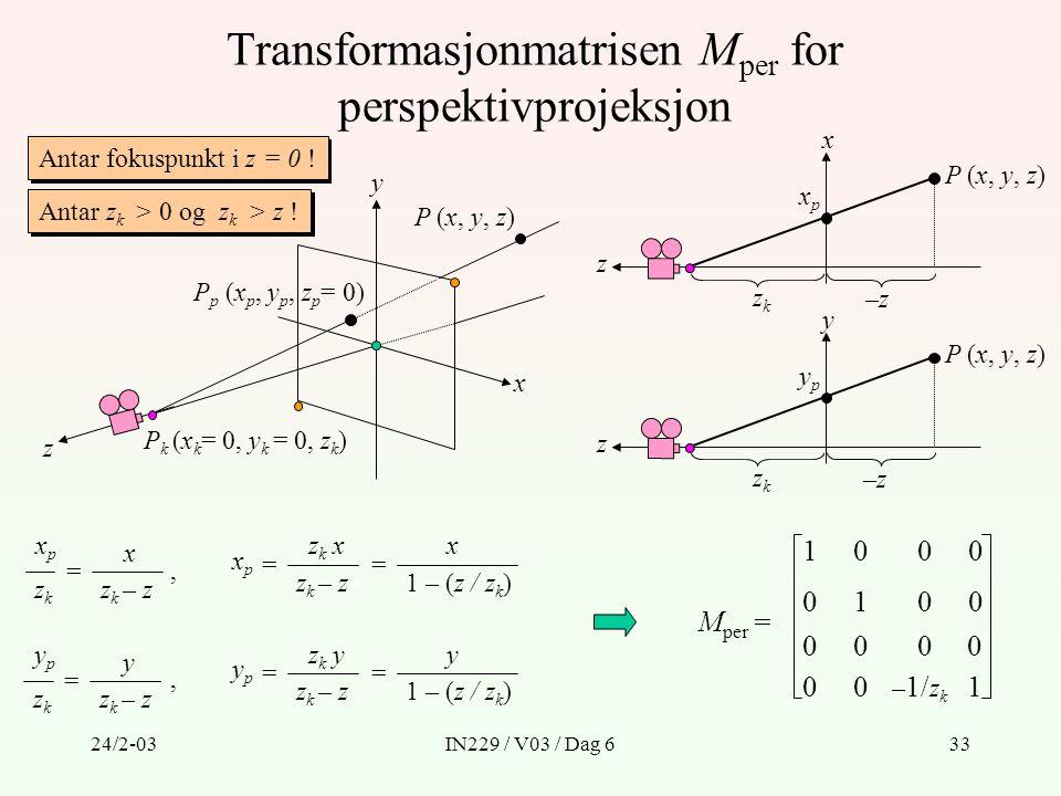 Transformasjonmatrisen Mper for perspektivprojeksjon