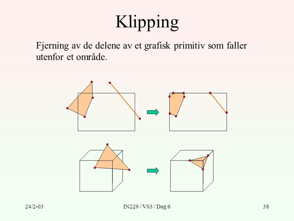 Klipping Fjerning av de delene av et grafisk primitiv som faller utenfor et område.