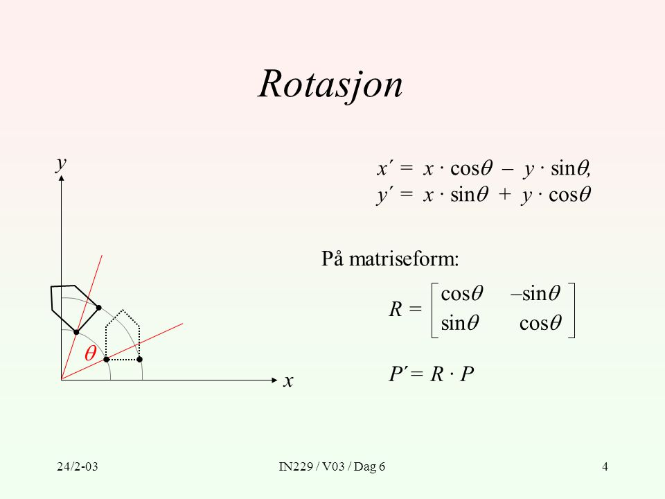 Rotasjon x y  x´ = x · cos – y · sin, y´ = x · sin + y · cos