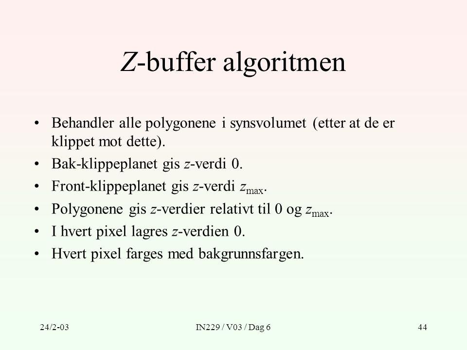 Z-buffer algoritmen Behandler alle polygonene i synsvolumet (etter at de er klippet mot dette). Bak-klippeplanet gis z-verdi 0.