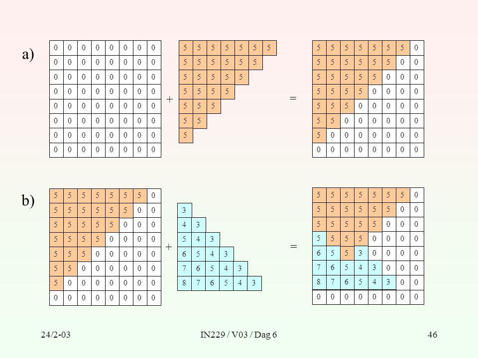 a) 5 5 + = b) 5 5 6 7 8 3 4 3 4 5 6 7 8 + = 24/2-03 IN229 / V03 / Dag 6
