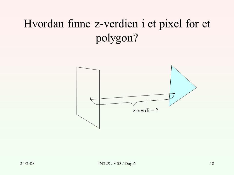 Hvordan finne z-verdien i et pixel for et polygon