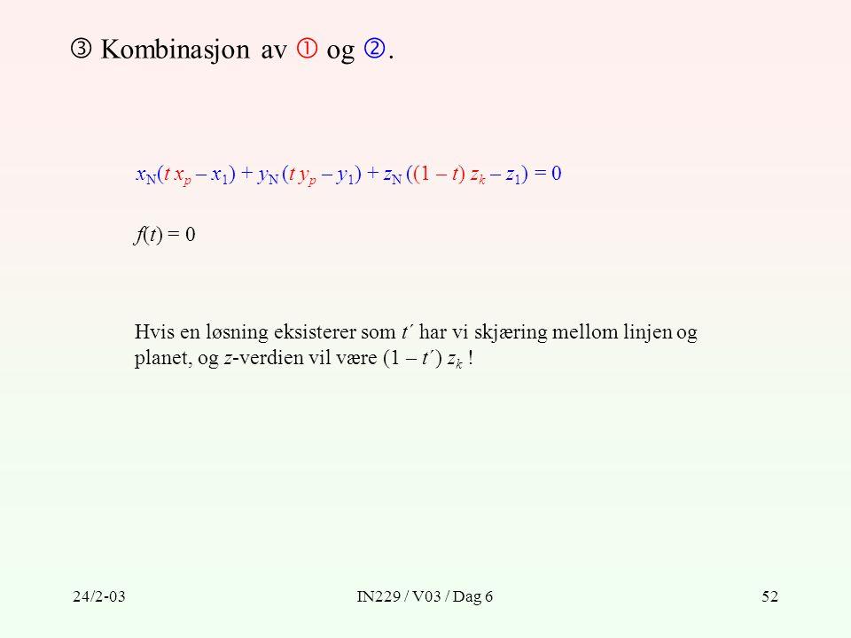  Kombinasjon av  og . xN(t xp – x1) + yN (t yp – y1) + zN ((1 – t) zk – z1) = 0. f(t) = 0.